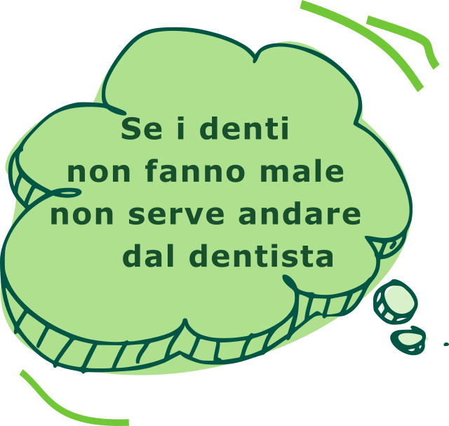 Icona con fake news sulla prevenzione dentale